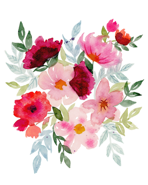 Floral print png. Pink customs by cass