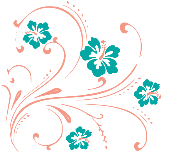 Floral scroll png. Tropical flower clip art