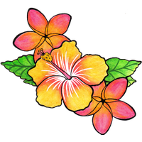 Tropical flower tattoo png. Download free photo images