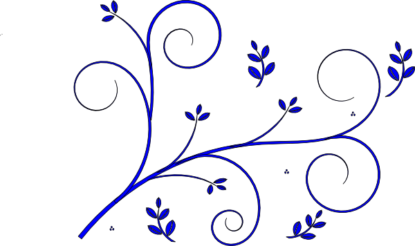 Arabesque vector simple design. Floral blue clip art