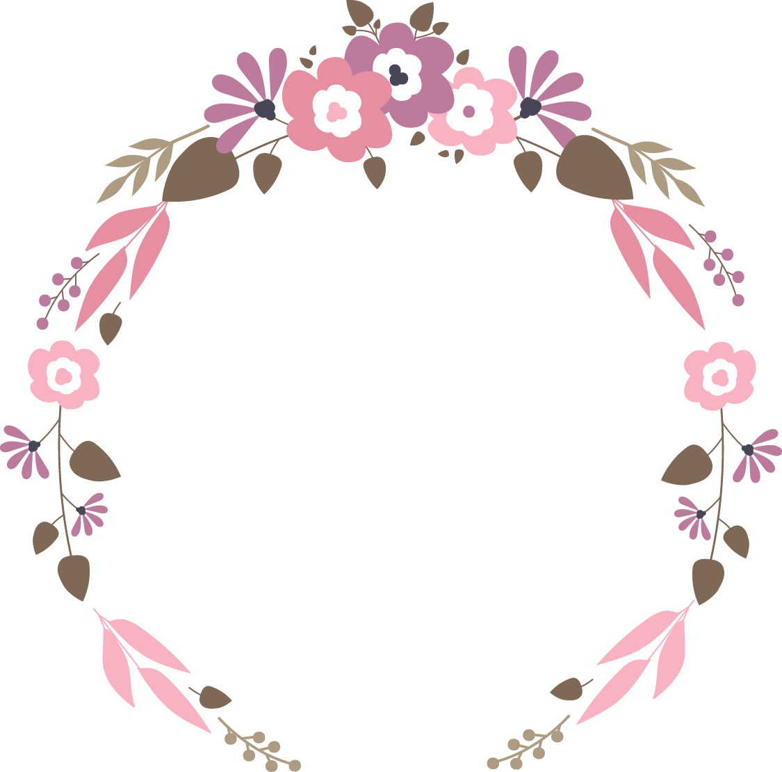 Flower png vector. Floral garland wedding flat