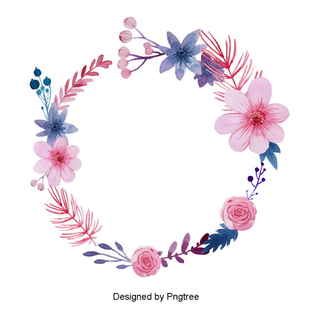 Floral wreath png. Beautiful hand paint watercolor