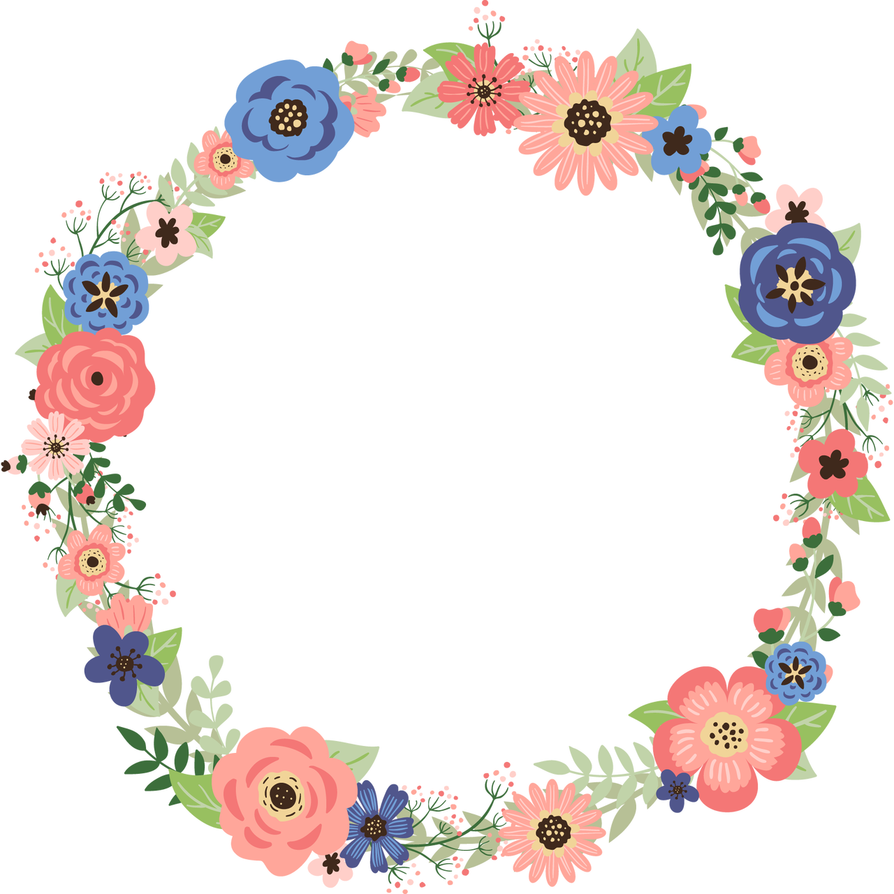 Floral wreath png. Coral and navy ready