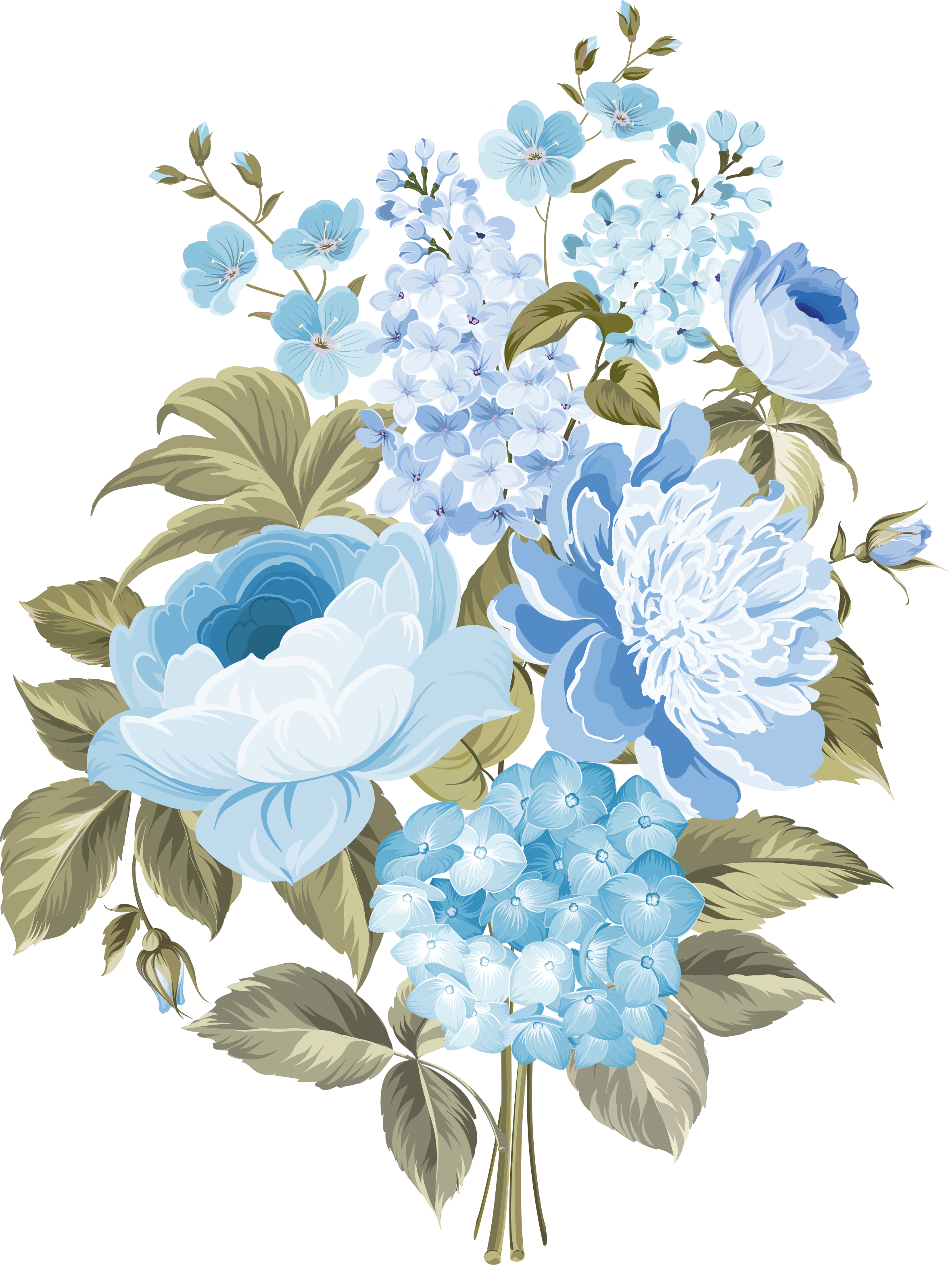 Drawing wallpapers flower. My design blue flowers
