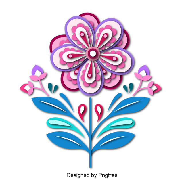 Flores cartoon png. Beautiful colorful tridimensional paper