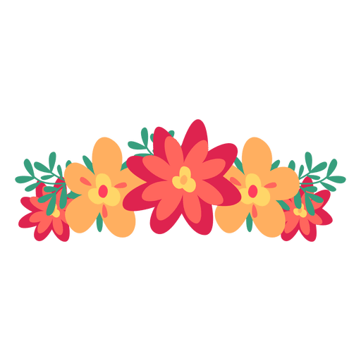 Corona de color rojo. Flores png vector clip art transparent download