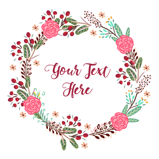 Flores png vector. Colorful floral wreath with