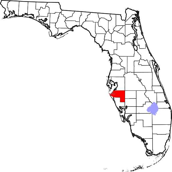 Florida map png. File of highlighting manatee