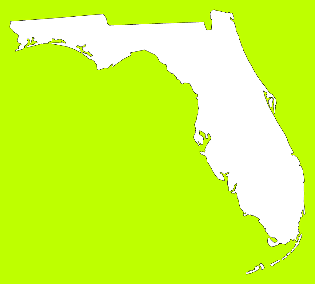 Florida map png. Plain frame style maps