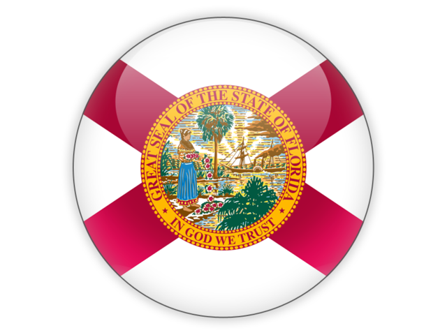Florida state flag png. Round icon illustration of