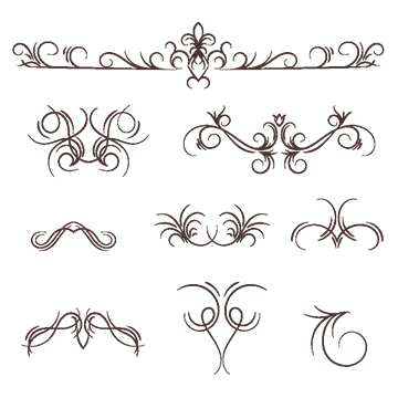 Calligraphy vector flourishes. Flourish border png images