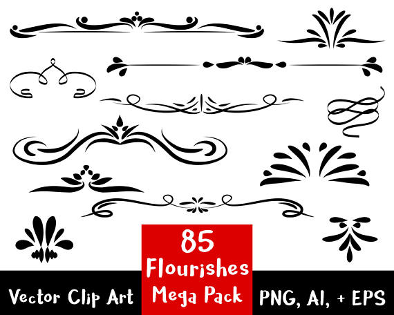 Flourishes clipart frame. Flourish mega pack digital