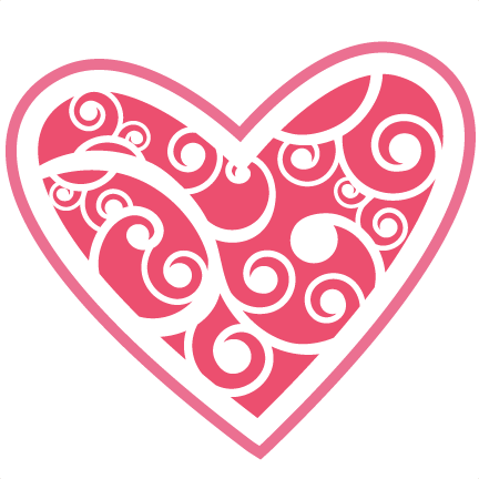 Flourishes svg heart. Flourish cutting files cut