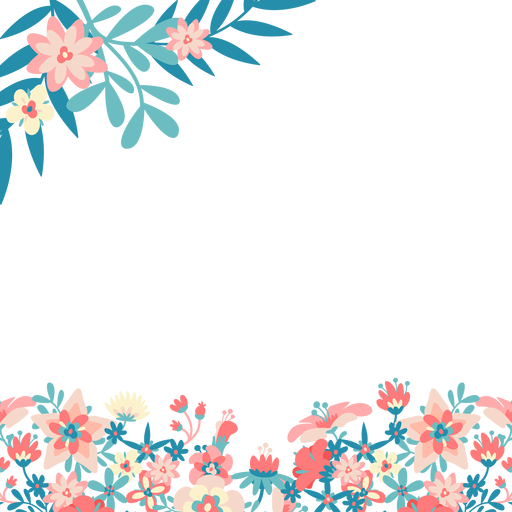 Flower background png. Blue pink flowers transparent