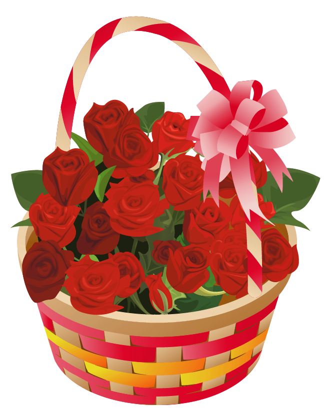 Flower basket png. Roses clipart omey flowers