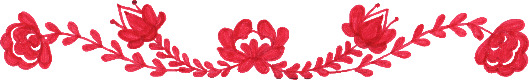 Flower border png. Red drawing transparent