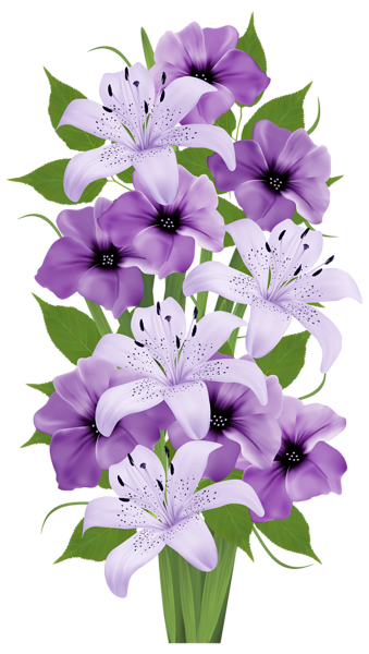 Easter lily garland png. Exotic flowers bouquet clipart