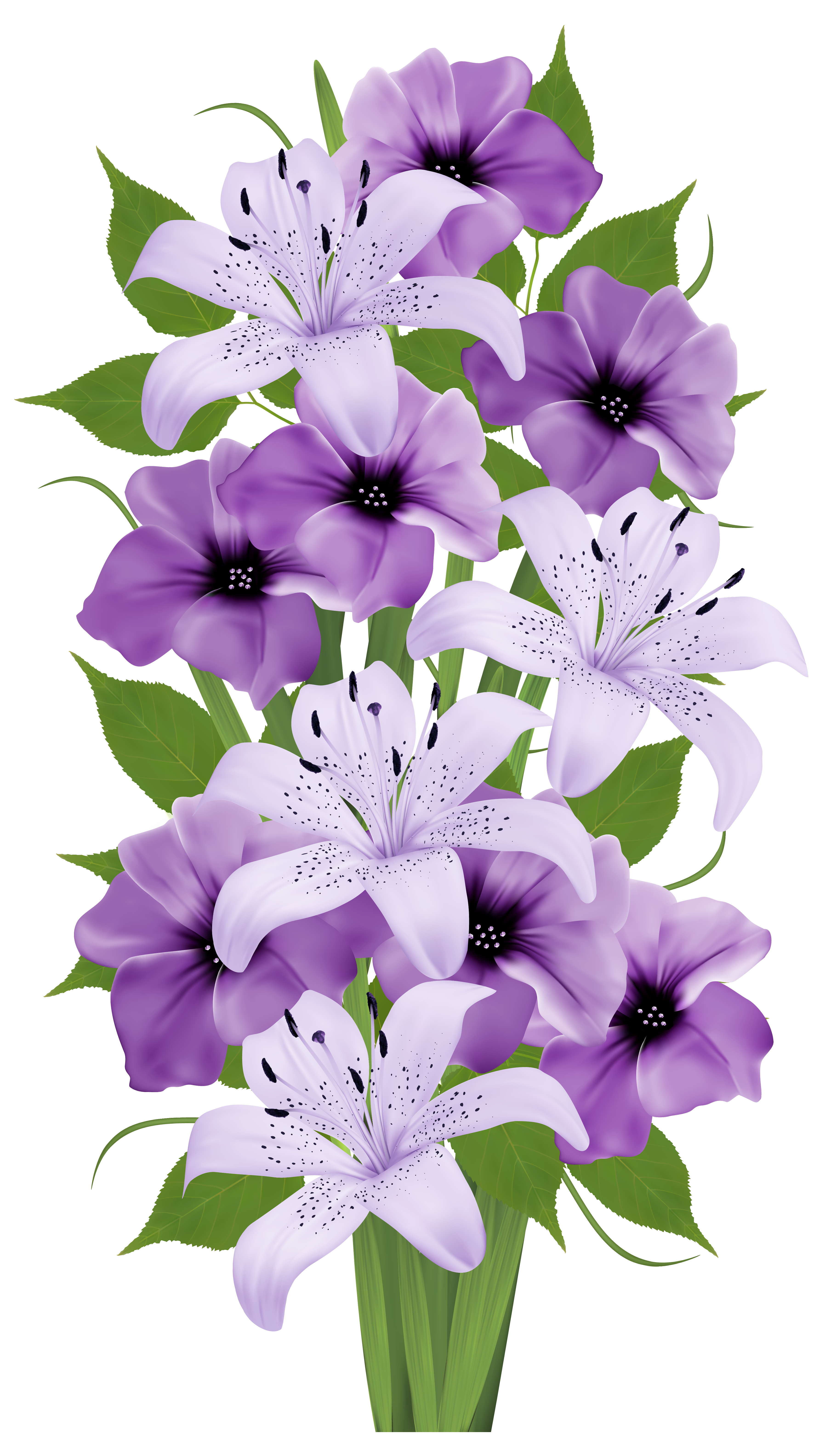 Exotic flowers png clipart. Vector bouquet clip black and white
