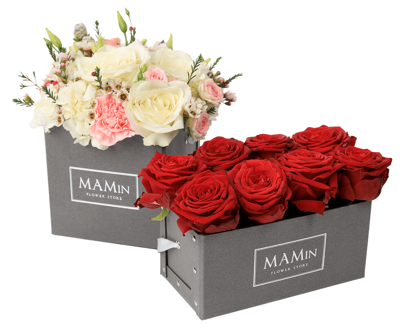 Flower box png. Square riveted premium packaging