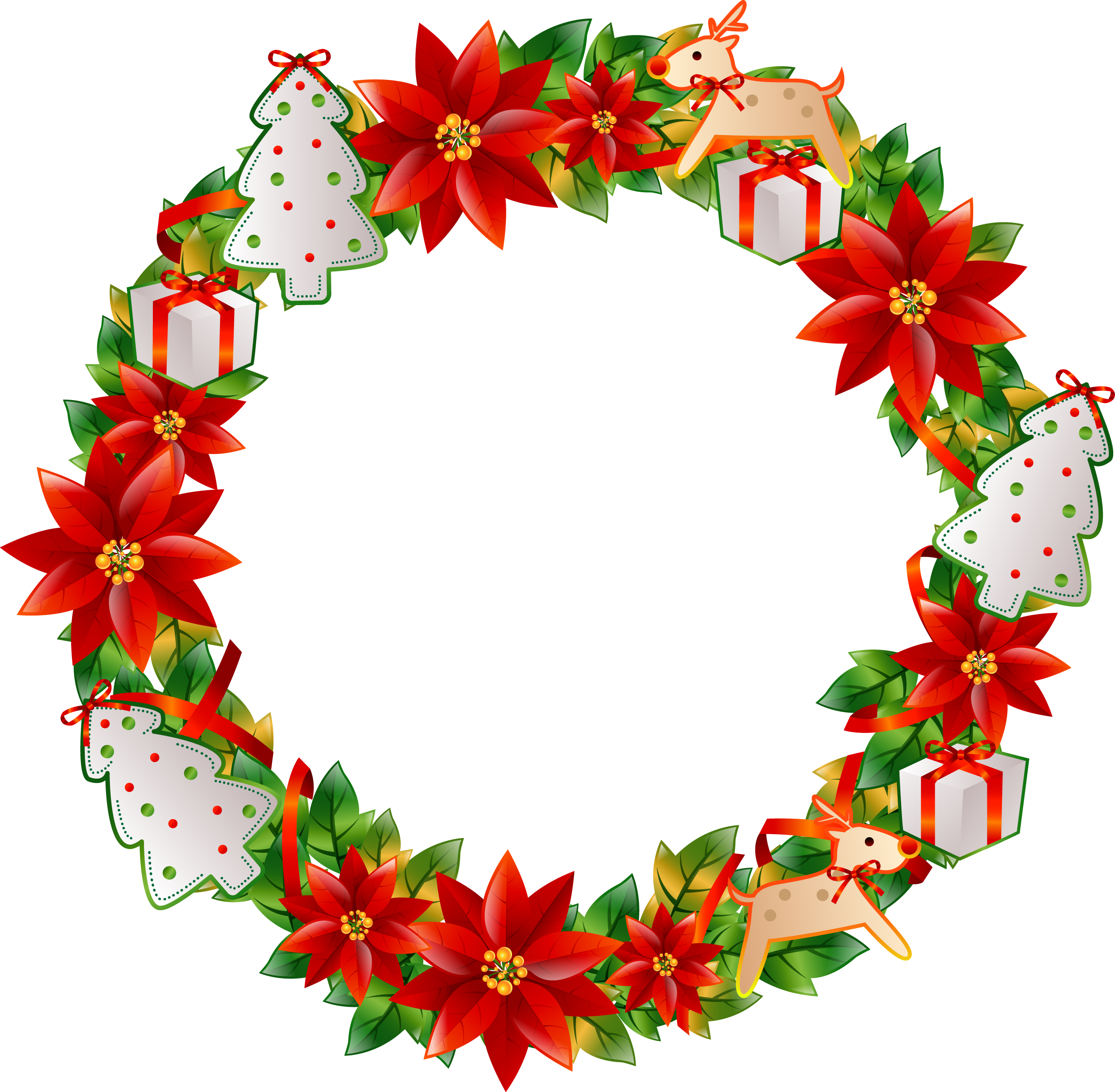 Flower circle png. Christmas wreath transprent free