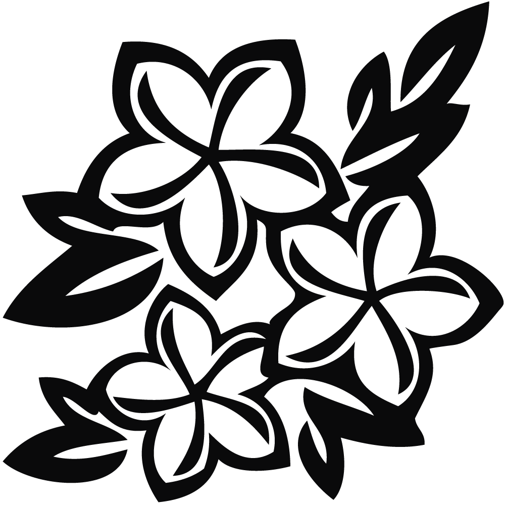 Flower clipart black png. Flowers and white hawaiian