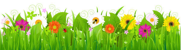 Flower clipart grass. With flowers and bee