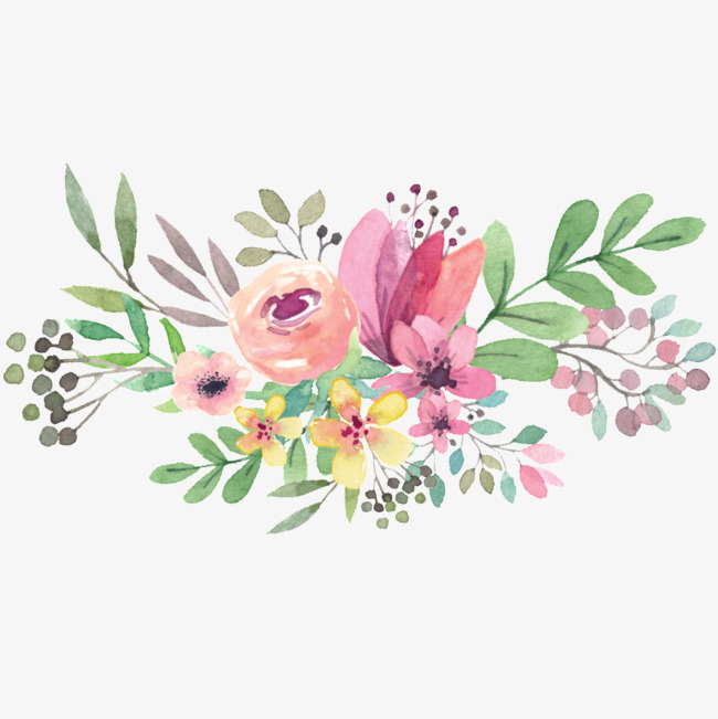 Flower clipart watercolor. Flowers cartoon hand painted