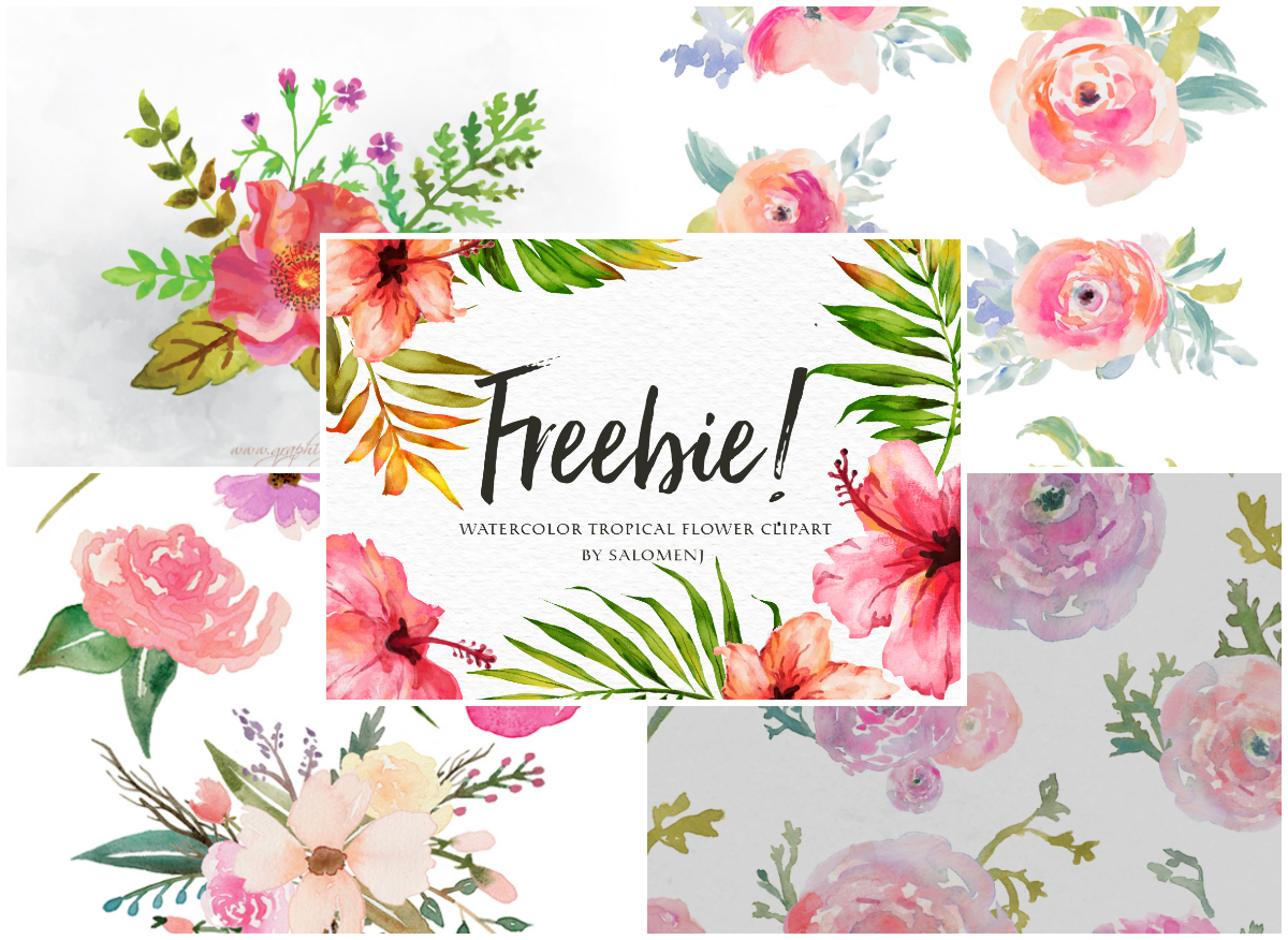 A collection of free. Flower clipart watercolor picture black and white download