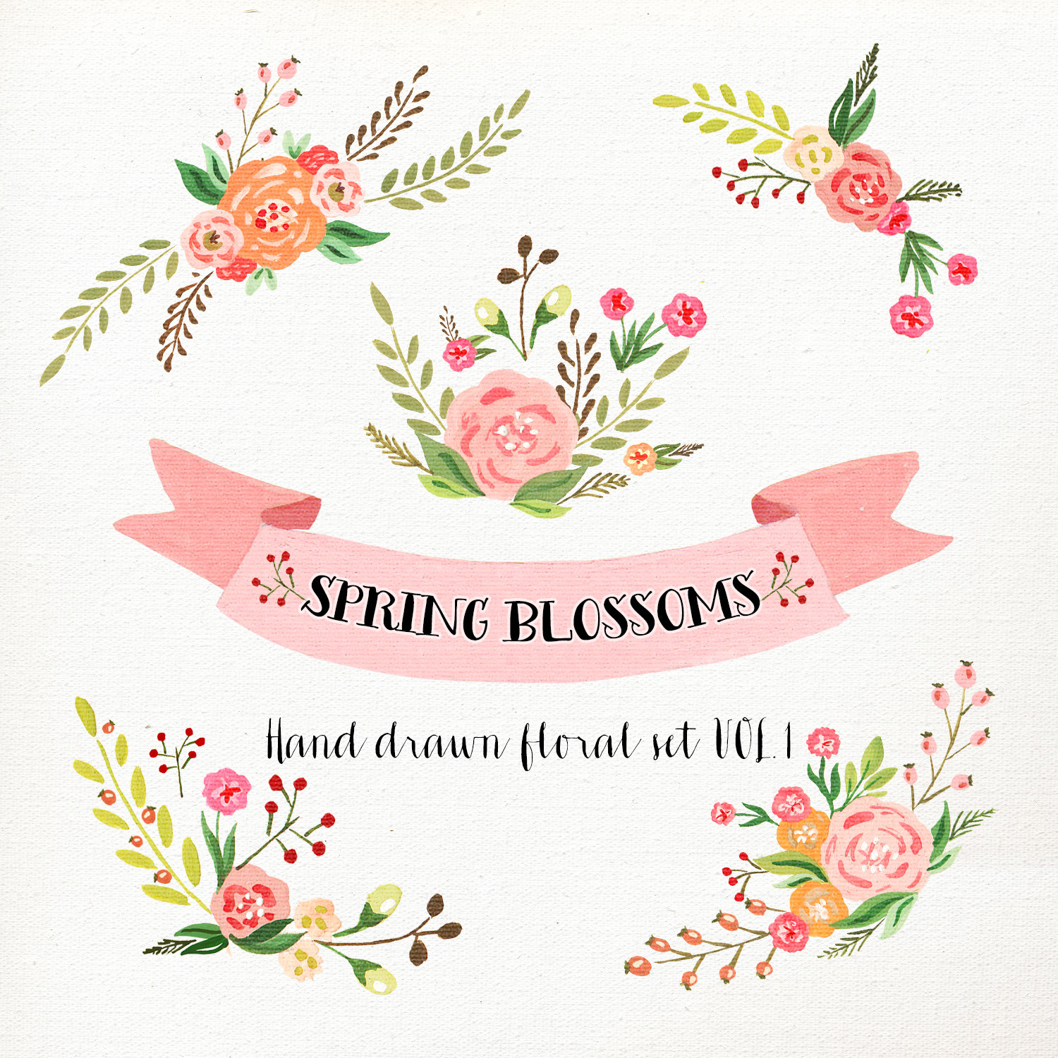 Wedding floral clip art. Flower clipart watercolor clipart royalty free