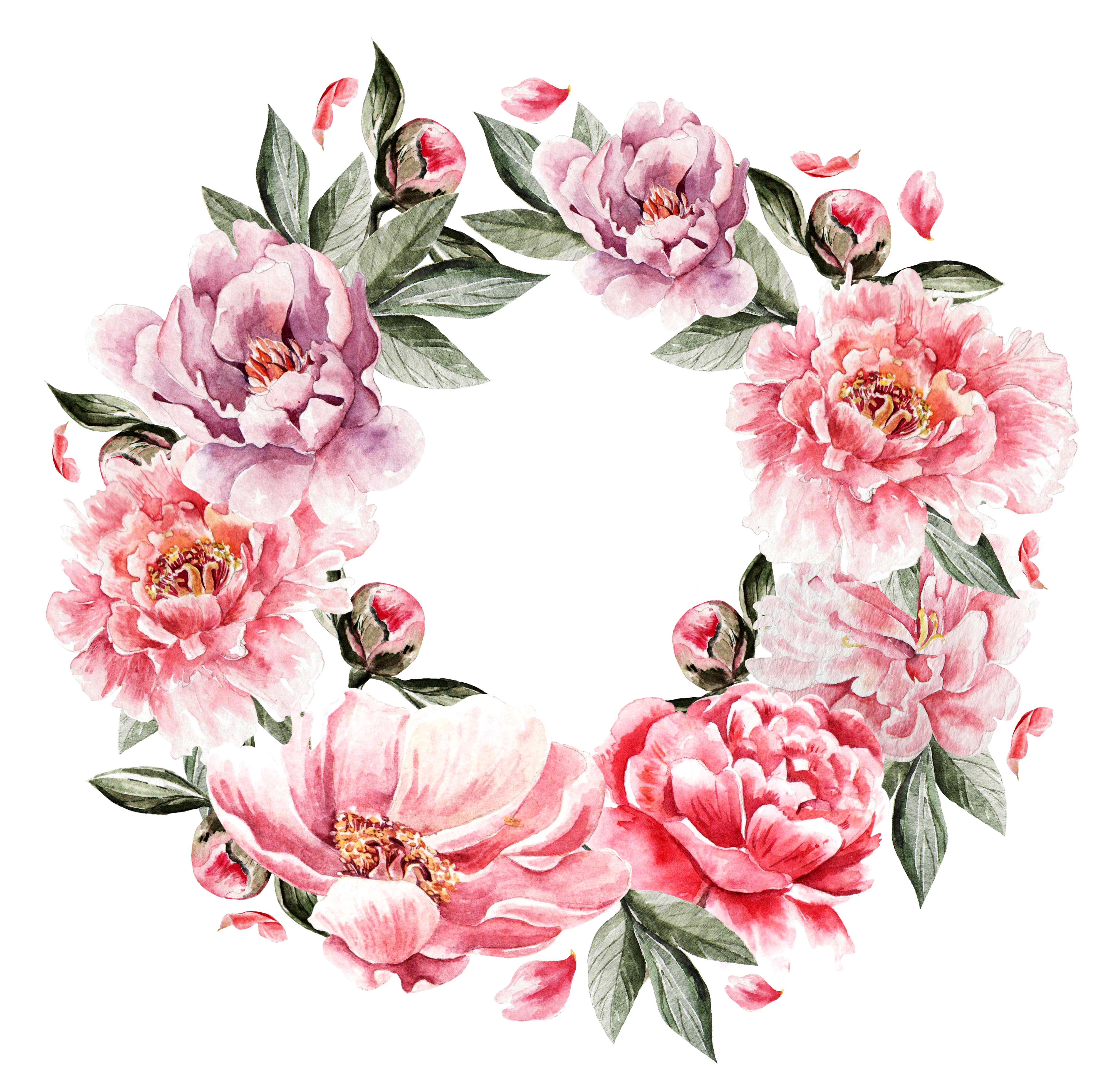 Flower cluster png. Painting wreath hand painted
