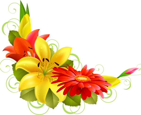 Flower corner design png. Bordures tubes coins corners