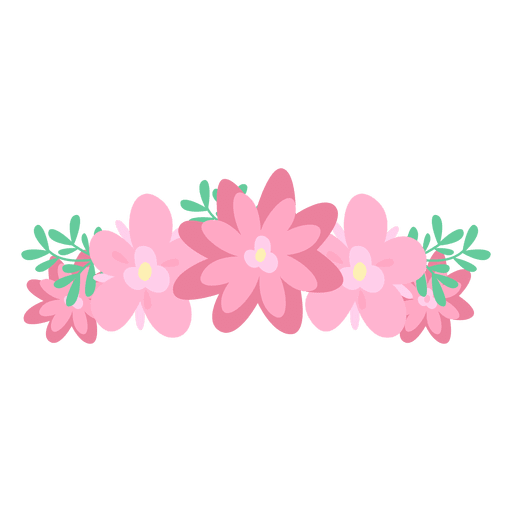 Pink floral png. Flower crown transparent svg