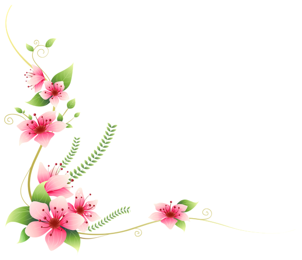Flower decoration png. Pink flowers clip art