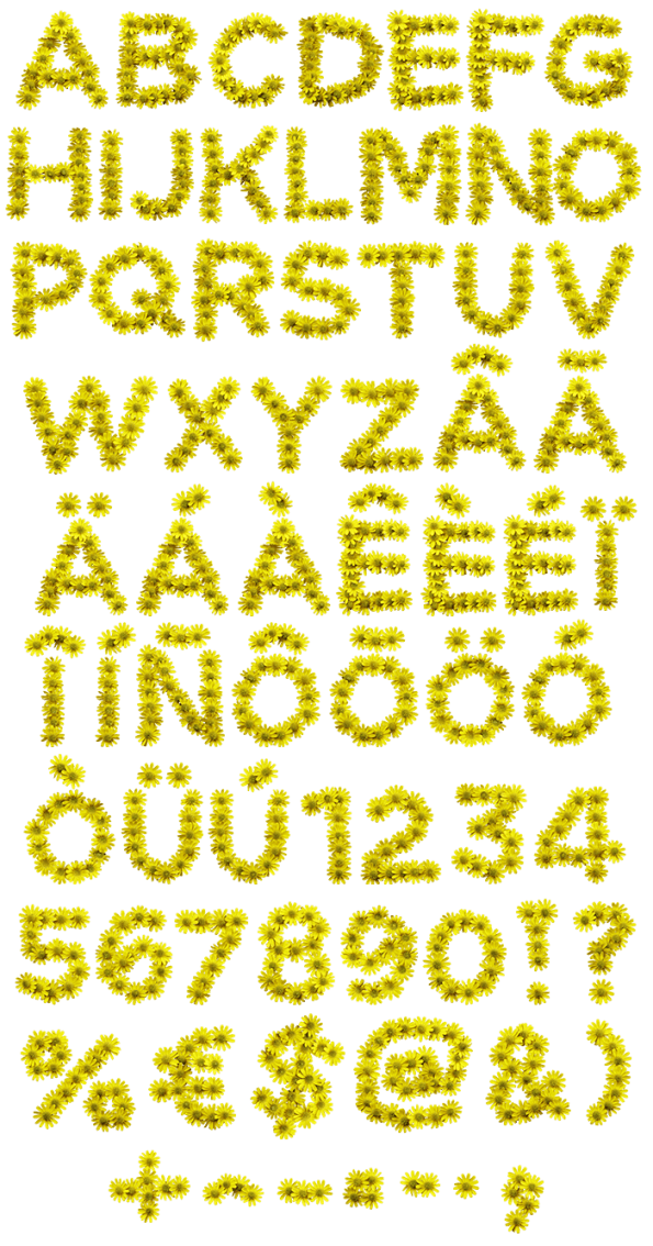 Flower font high definition png. Buy yellow flowers and