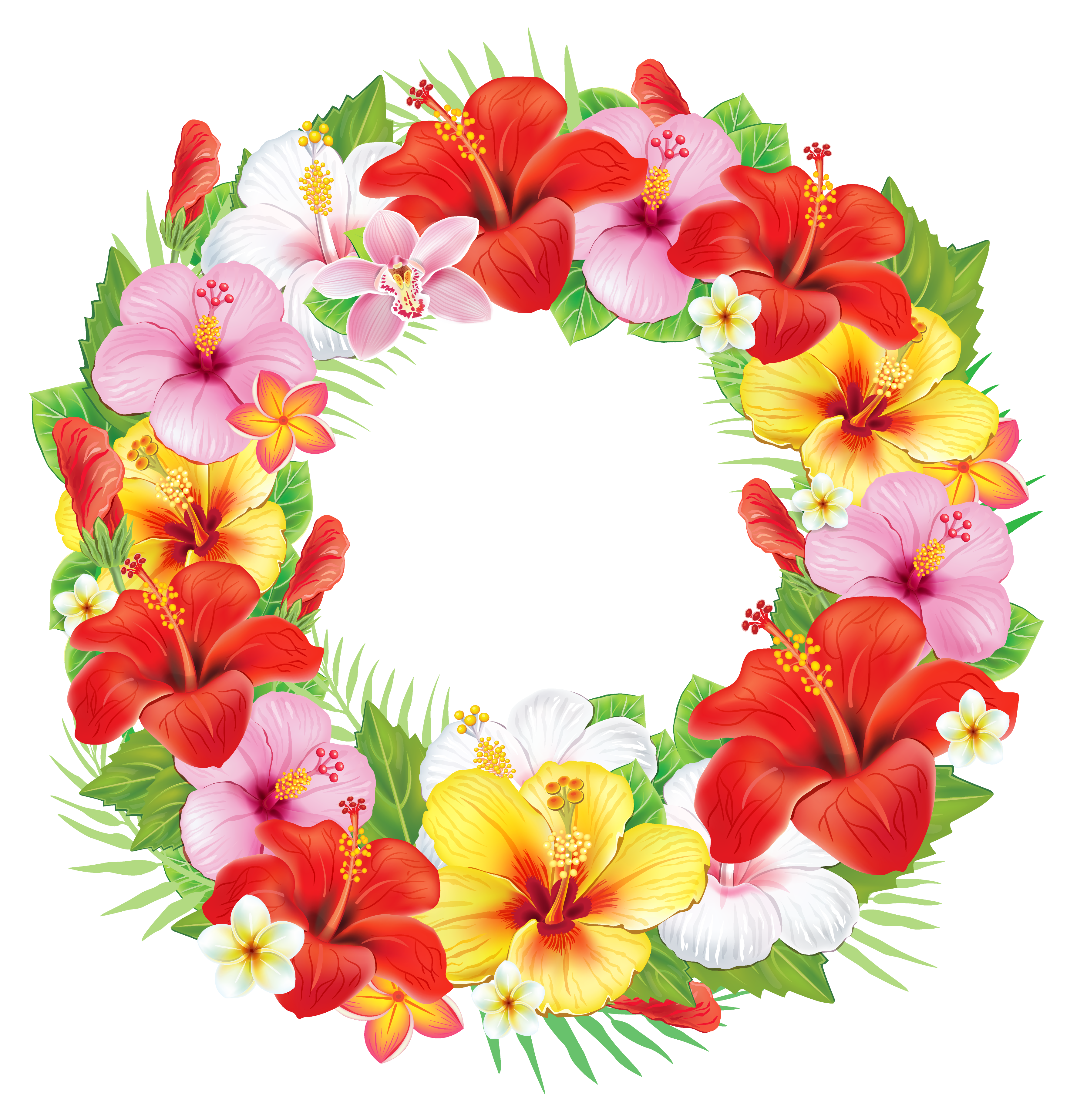 Flower lei png. Wreath of exotic flowers