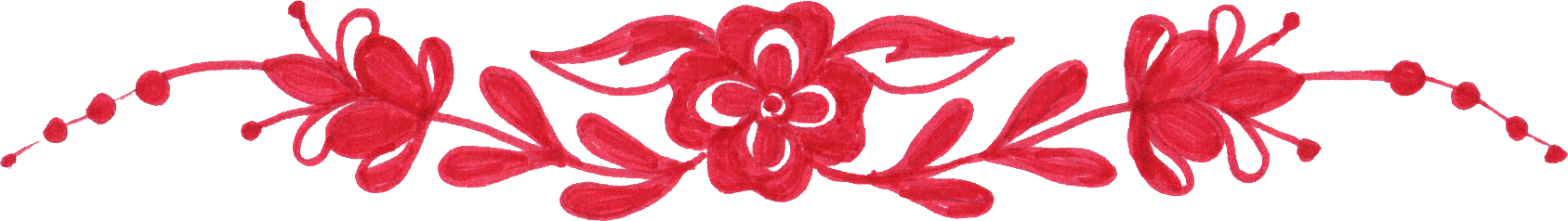 Flowers border png. Red flower drawing