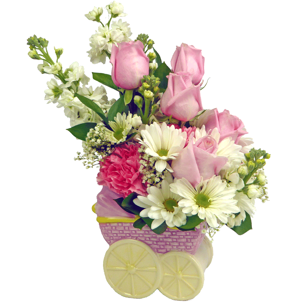 Baby girl carriage designed. Flowers bouquet png transparent banner royalty free library