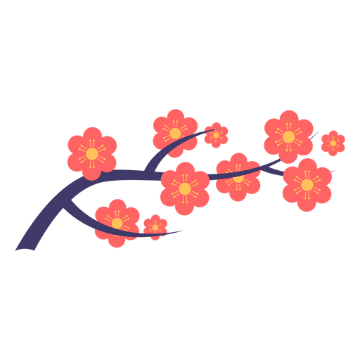 Flowers branch png. Japanese flower ornament transparent