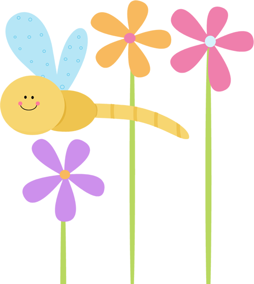 Flowers clip art png. Dragonfly and image cute