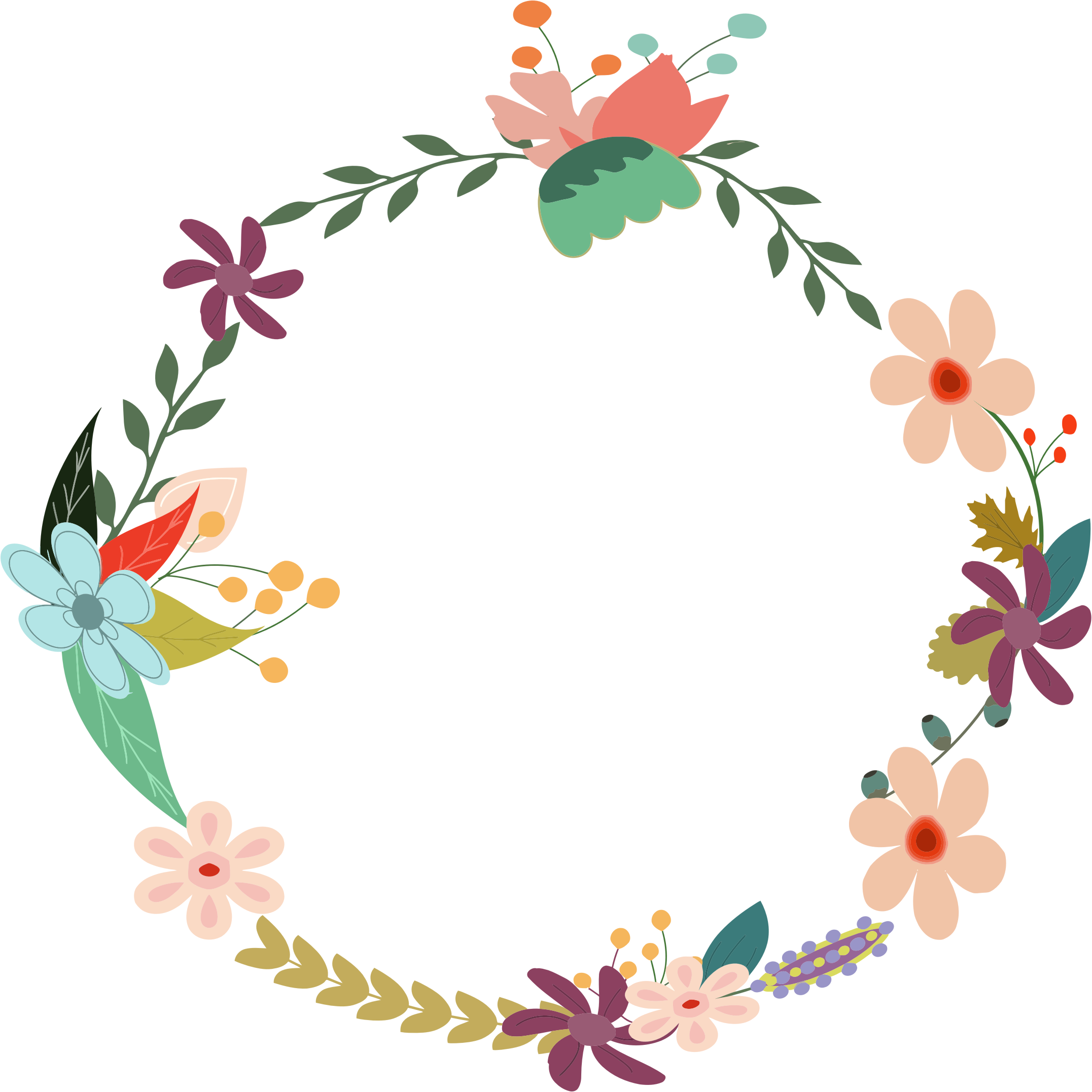 Watercolor wreath flower png. Vintage floral by gdj