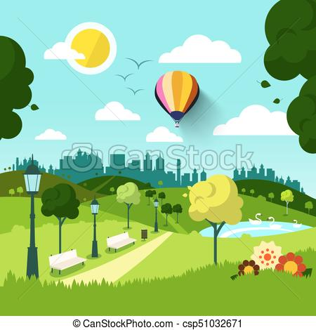 City vector landscape green. Nature clipart park svg library library