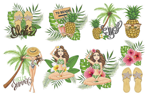 Flowers clipart pineapple. Hawaii summer time hand