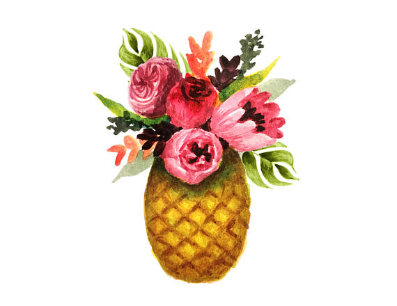Flowers clipart pineapple. Tropical watercolor floral