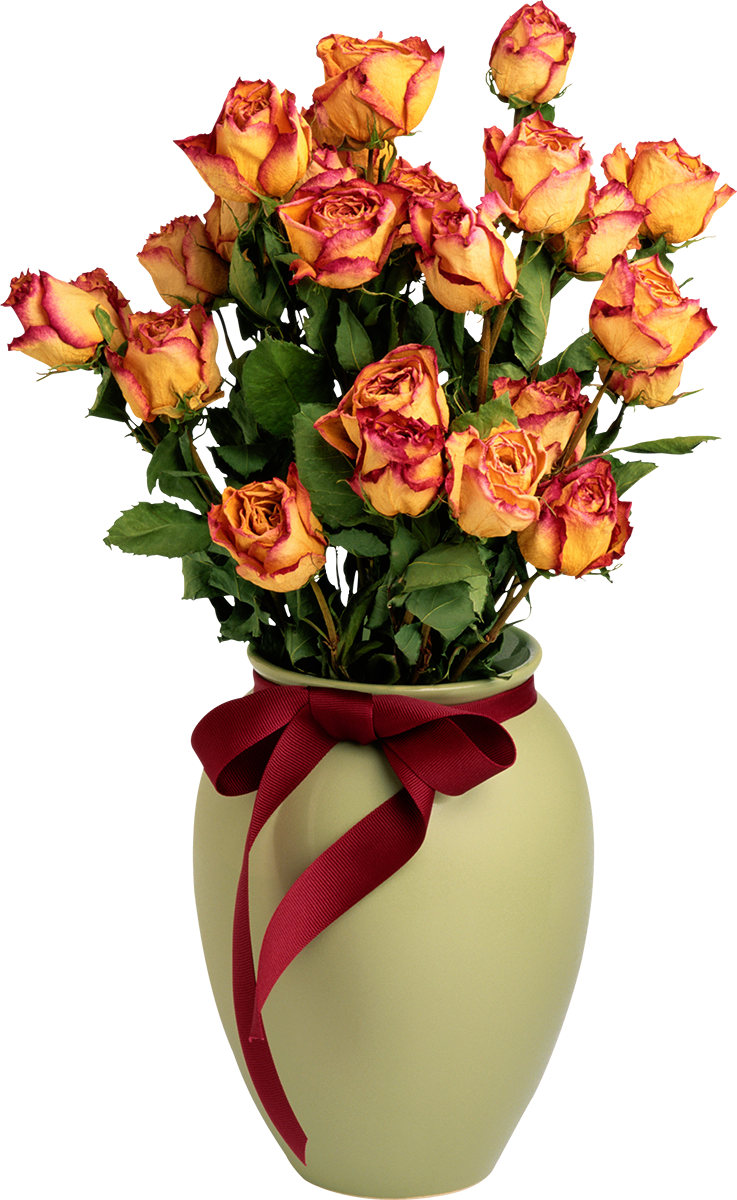 Flowers in vase png. With orange roses picture
