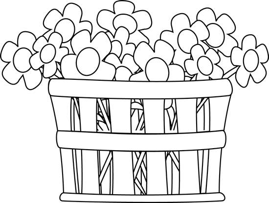 Flowers png black and white. Basket of clip art