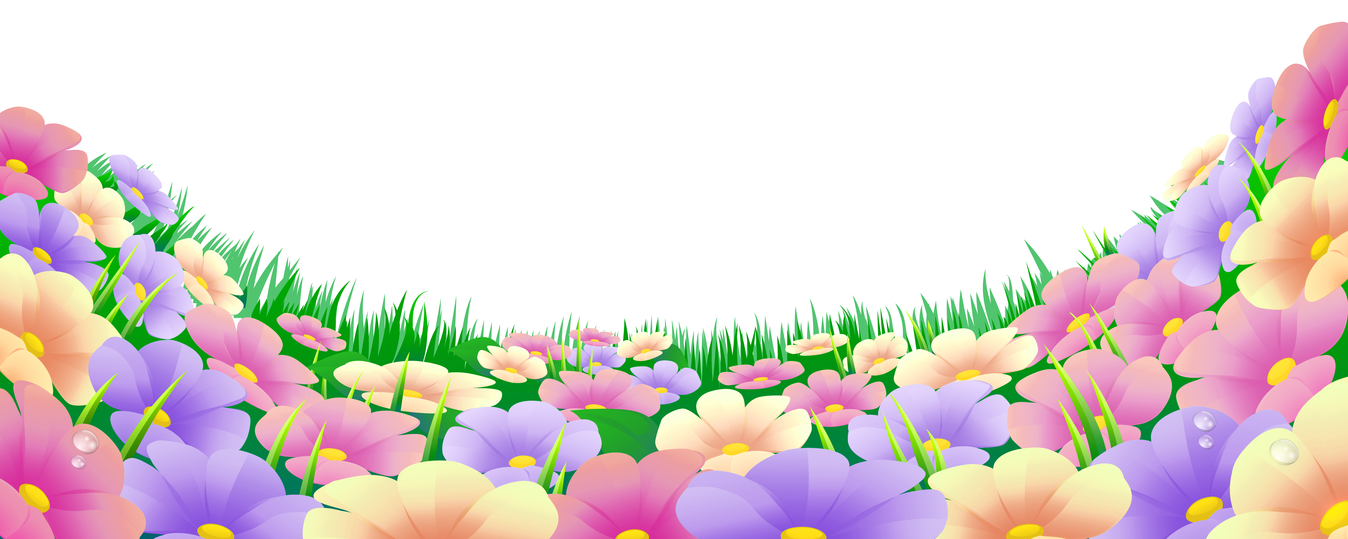 Flowers png clipart. Grass with beautiful download