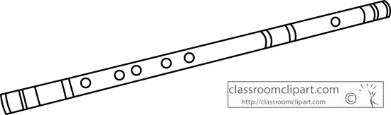 Flute clipart outline. Pencil and in color