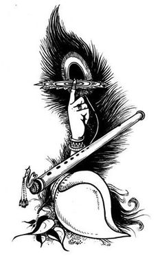 Flute clipart shri krishna. With peacock feather painting