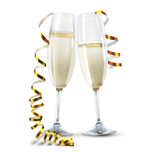 Champagne clipart champagne bubble. Transparent flutes with gold