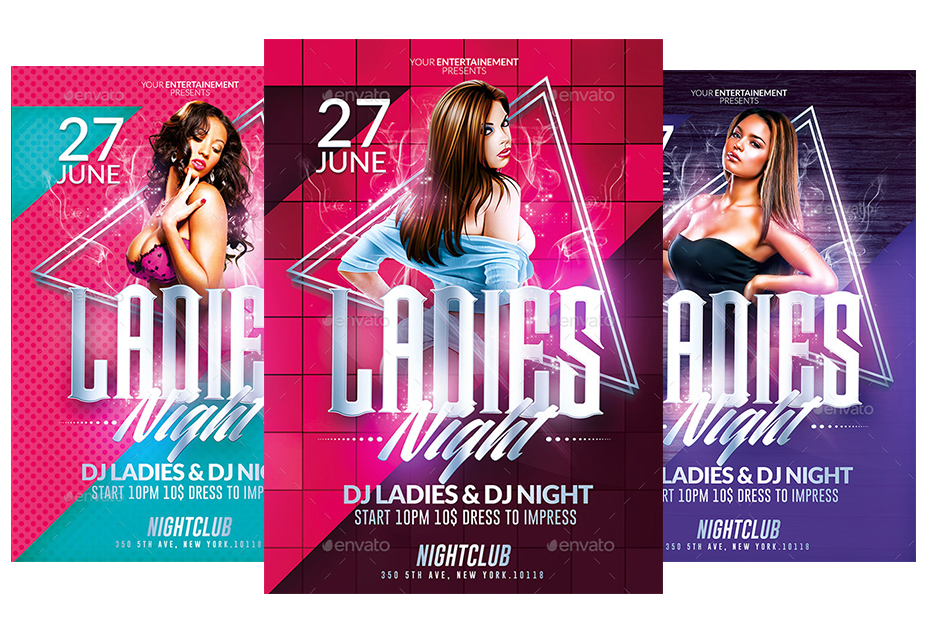Flyer party png. Ladies night psd templates